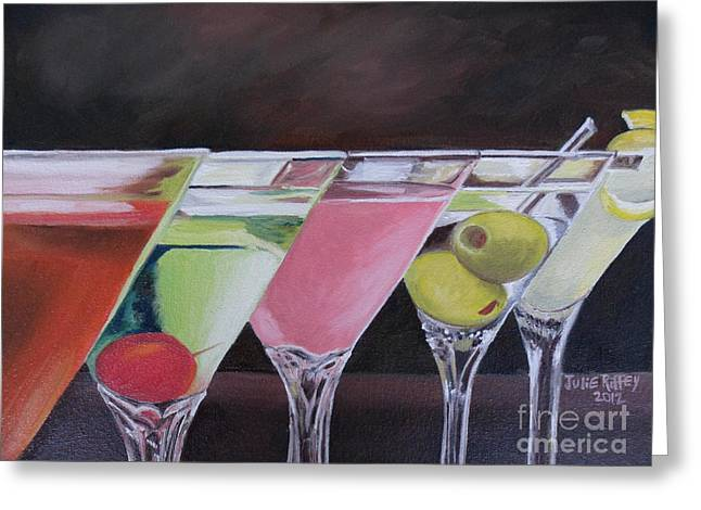 Cheer On Paintings Greeting Cards - Five OClock Greeting Card by Julie Brugh Riffey