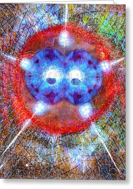 Janelle Schneider Greeting Cards - Five of Wands/Stars - Fusion - Artwork for the Science Tarot Greeting Card by Janelle Schneider
