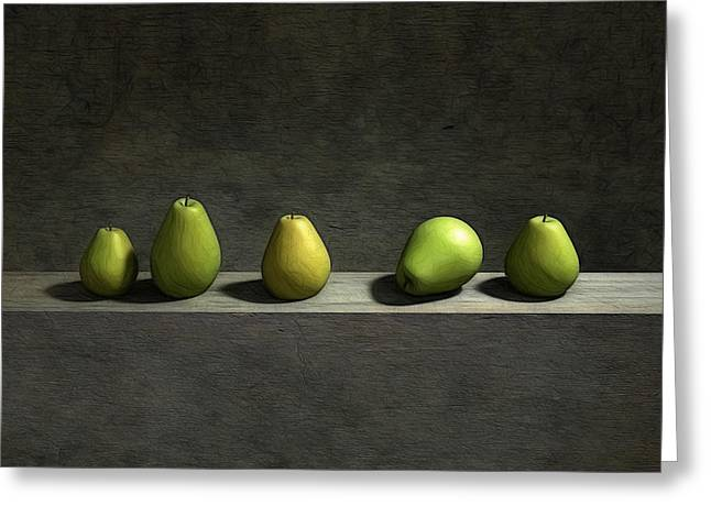 Green Greeting Cards - Five Pears Greeting Card by Cynthia Decker
