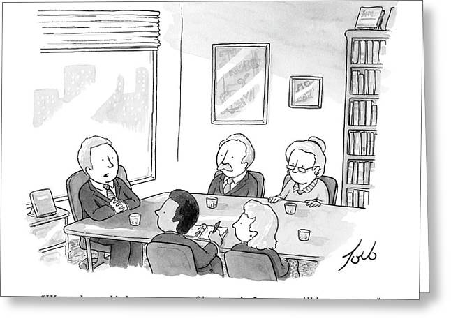 Five People Sit Around A Conference Table Greeting Card by Tom Toro