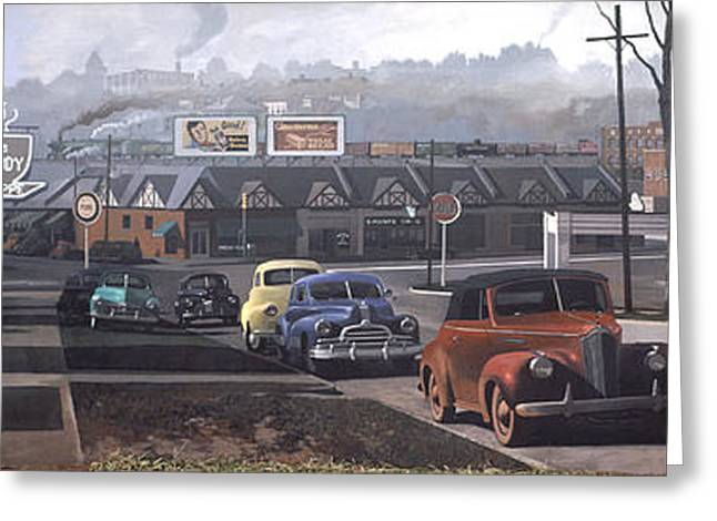 Coca-cola Mural Greeting Cards - Five Points - 1948 Greeting Card by Blue Sky