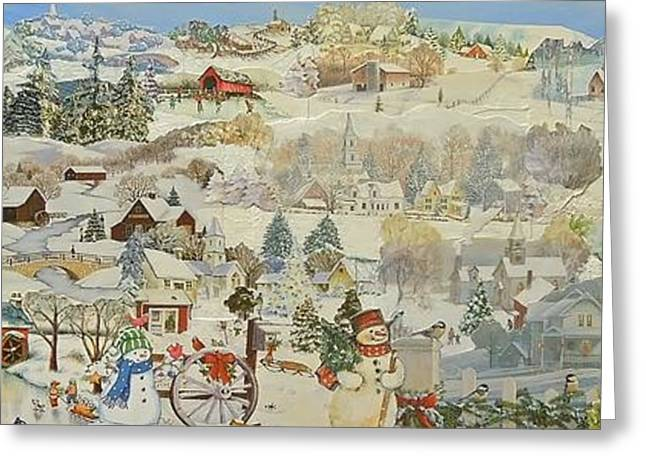 Town Mixed Media Greeting Cards - Five Snowmen Greeting Card by Judith Espinoza