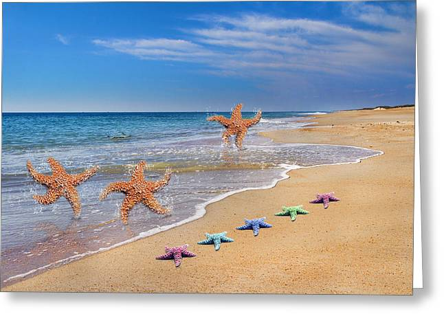 Five Star Beach Yippe Yah Greeting Card by Betsy Knapp