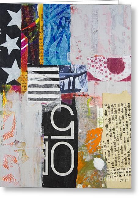 Geometric Art Greeting Cards - Five Stars Greeting Card by Elena Nosyreva