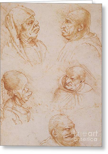 Physiology Greeting Cards - Five Studies of Grotesque Faces Greeting Card by Leonardo da Vinci