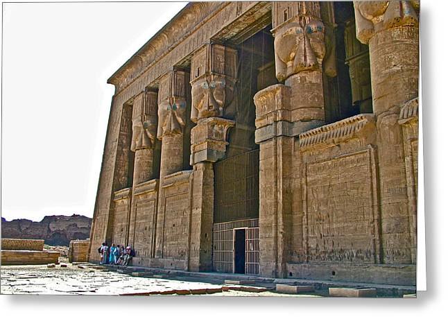 Hathor Greeting Cards - Five Thousand Year Old Temple of Hathor in Dendera- Egypt Greeting Card by Ruth Hager