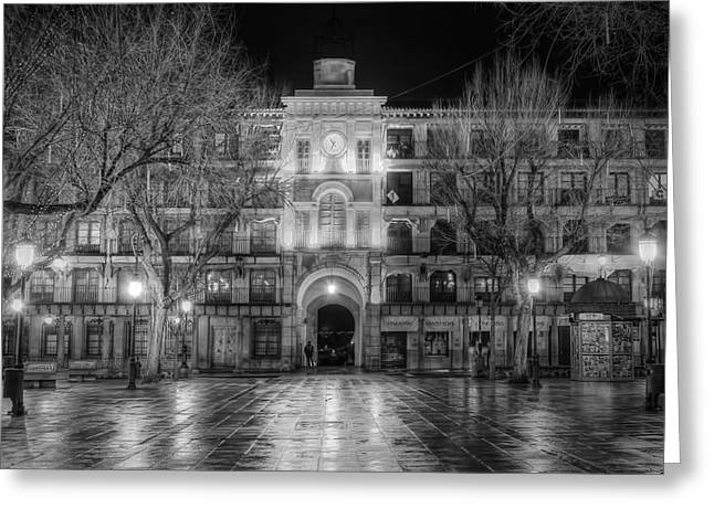 Night Lamp Greeting Cards - Five Till Seven in Black and White Greeting Card by Joan Carroll