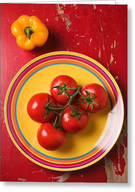 Fresh Produce Greeting Cards - Five tomatoes on plate Greeting Card by Garry Gay