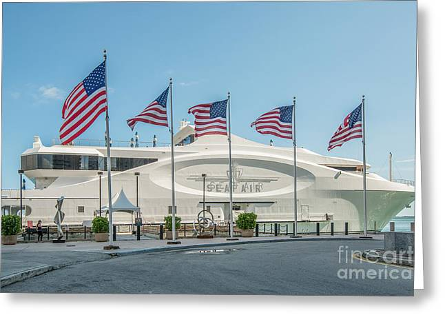 Flags Flying Greeting Cards - Five US Flags flying proudly in front of the megayacht Seafair - Miami - Florida Greeting Card by Ian Monk