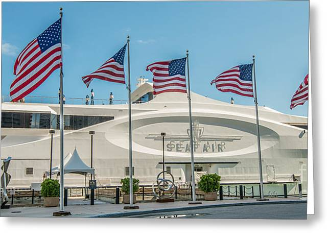 Flags Flying Greeting Cards - Five US Flags flying proudly in front of the megayacht Seafair - Miami - Florida - Panoramic Greeting Card by Ian Monk