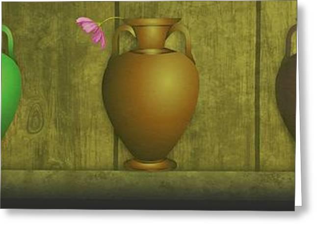 Glass Vase Greeting Cards - Five Vases one flower  Greeting Card by David Dehner