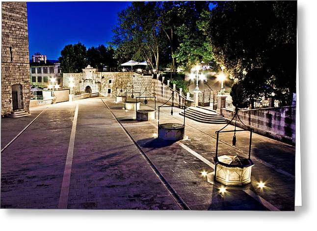 Wellspring Greeting Cards - Five well square in Zadar evening view Greeting Card by Dalibor Brlek