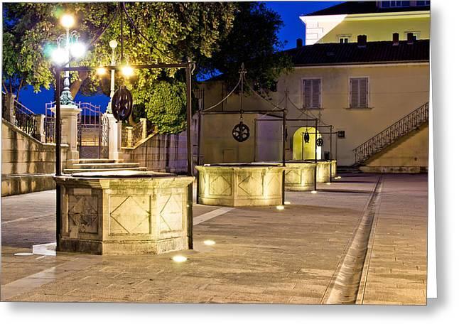 Wellspring Greeting Cards - Five wells square in Zadar Greeting Card by Dalibor Brlek