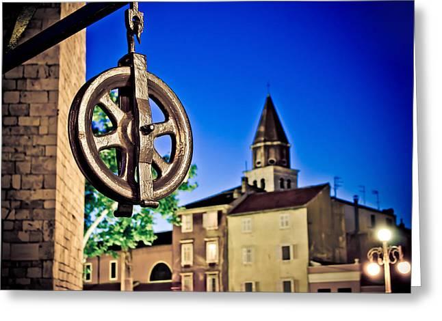 Wellspring Greeting Cards - Five wells square pulley in Zadar Greeting Card by Dalibor Brlek