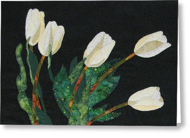 Still Life Tapestries Textiles Greeting Cards - Five White Tulips  Greeting Card by Lynda K Boardman