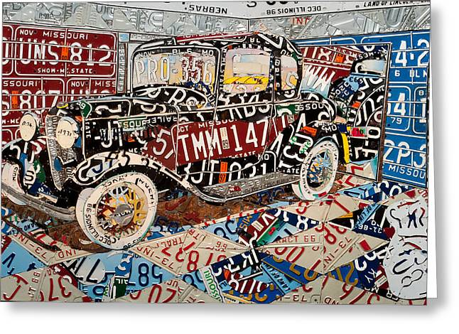 Drag Mixed Media Greeting Cards - Five Window Ford Coupe of Type Greeting Card by Phil Jackson