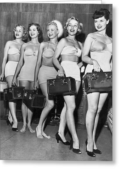 Five Women Pose With Bags Greeting Card by Underwood Archives