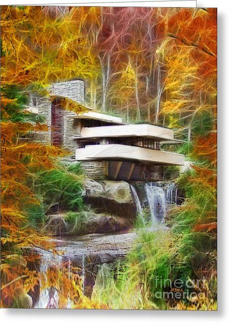 Robert R Mixed Media Greeting Cards - Fixer Upper - Frank Lloyd Wrights Fallingwater Greeting Card by John Robert Beck