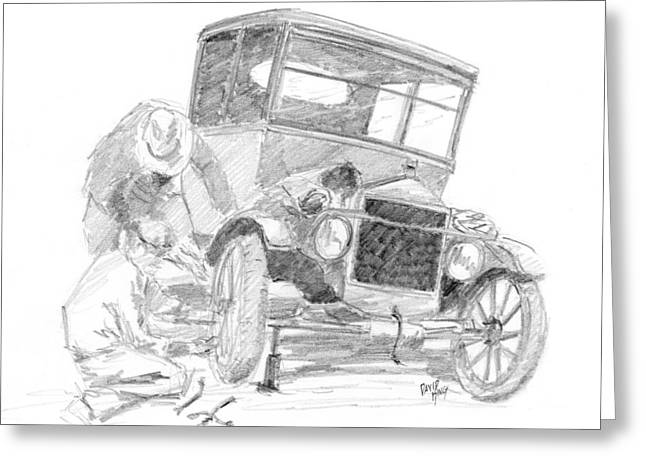 Ford Model T Car Greeting Cards - Fixin the Flivver Greeting Card by David King