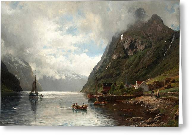 Landscape With Figure Greeting Cards - Fjord Landscape with Figures Greeting Card by Anders Askevold