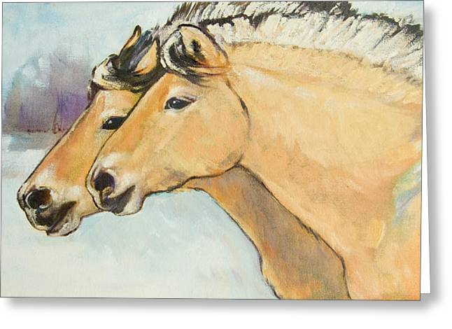 Two Horses Greeting Cards - Fjord Race Greeting Card by Tracie Thompson