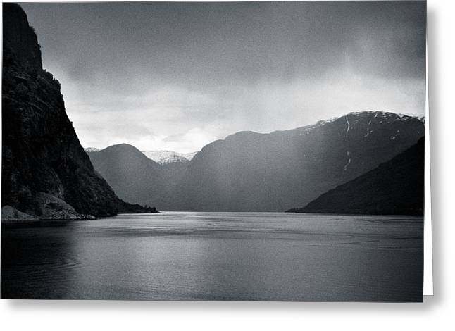 Bleak Greeting Cards - Fjord Rain Greeting Card by Dave Bowman