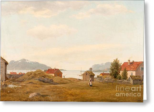 Oslo Paintings Greeting Cards - Fjord View Greeting Card by Oscar Kleineh