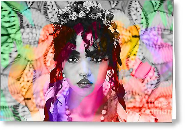 British Celebrities Mixed Media Greeting Cards - FKA twigs Painting Greeting Card by Marvin Blaine