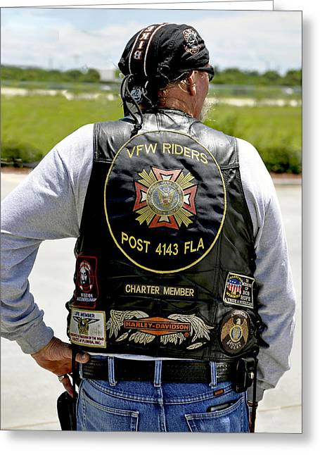 Vfw Greeting Cards - FLA Post 4143 VFW Rider Color USA Greeting Card by Sally Rockefeller