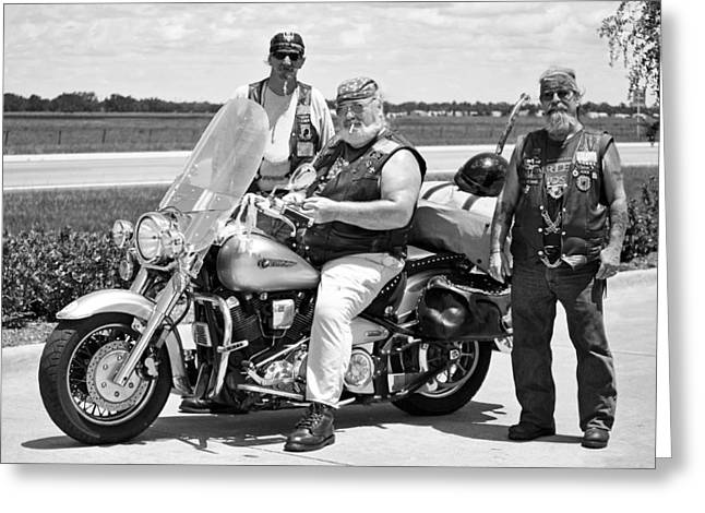 Fla Post 4143 Vfw Riders Bw Usa Greeting Card by Sally Rockefeller