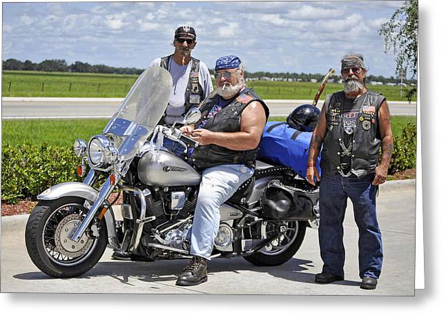 Forgotten Vet Greeting Cards - FLA Post 4143 VFW Riders Color USA Greeting Card by Sally Rockefeller