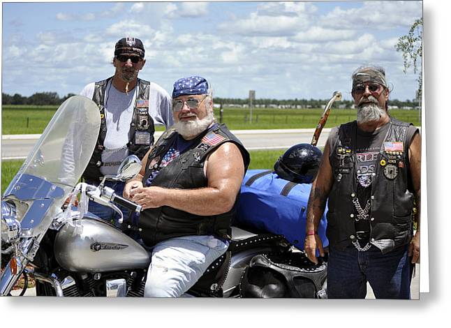 Forgotten Vet Greeting Cards - FLA Post 4143 VFW Riders Detail Color USA Greeting Card by Sally Rockefeller