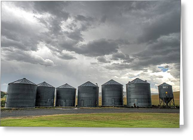 Grey Clouds Greeting Cards - Flack Silos Greeting Card by Latah Trail Foundation
