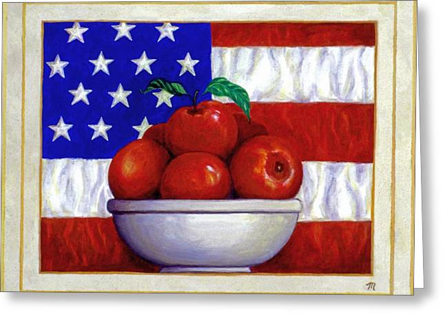 Best Sellers Greeting Cards - Flag and Apples Greeting Card by Linda Mears