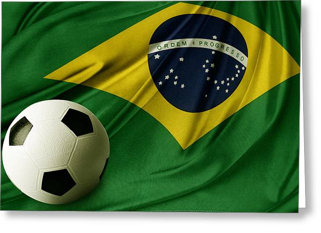 Football Photographs Greeting Cards - Flag and ball Greeting Card by Les Cunliffe