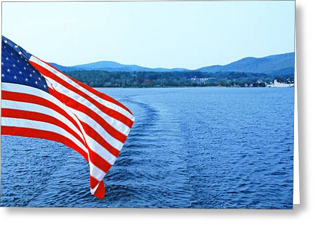 American Flag Photography Greeting Cards - Flag And View From The Minne Ha Ha Greeting Card by Panoramic Images
