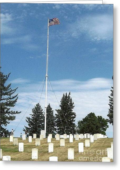 Little Big Horn Photographs Greeting Cards - Flag at Custer National Cemetery Greeting Card by Charles Robinson