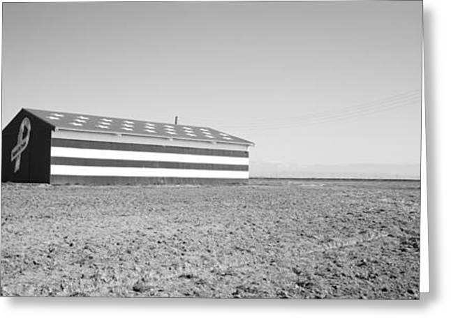 American Flag Photography Greeting Cards - Flag Barn Along Highway 41, Fresno Greeting Card by Panoramic Images