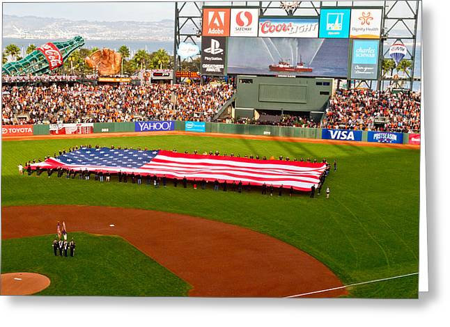 Nlcs Greeting Cards - Flag Ceremony Greeting Card by Bernard  Barcos