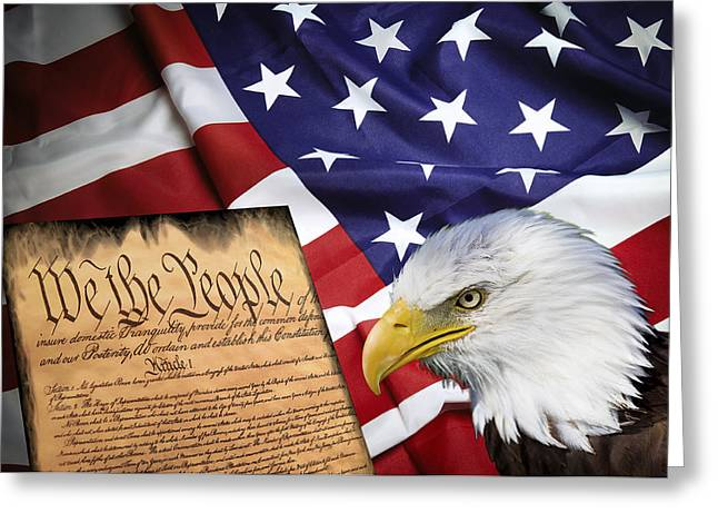Us Senate Greeting Cards - Flag Constitution Eagle Greeting Card by Daniel Hagerman