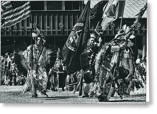 Fancy-dancer Greeting Cards - Flag Dancers Opening Ceremony Greeting Card by Scarlett Images Photography