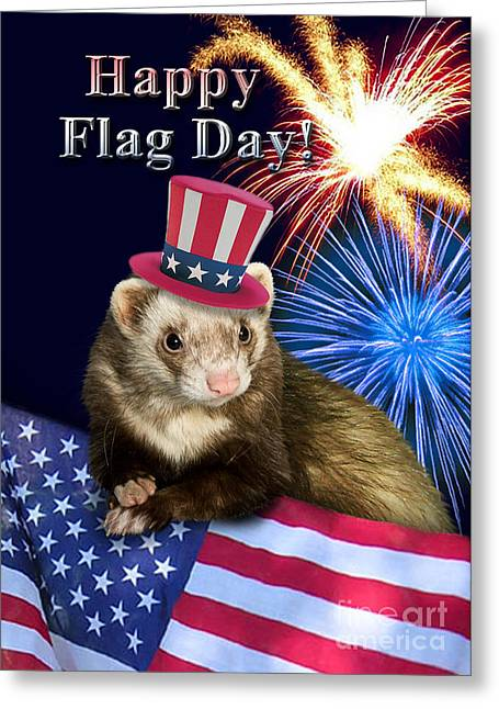 Wildlife Celebration Greeting Cards - Flag Day Ferret Greeting Card by Jeanette K