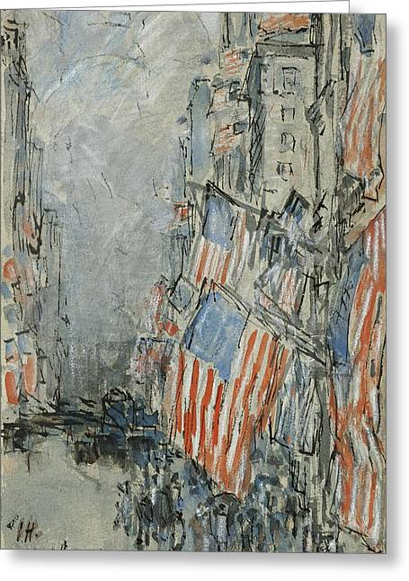 4th July Drawings Greeting Cards - Flag Day. Fifth Avenue. July 4th 1916 Greeting Card by Childe Hassam