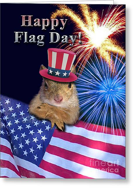 Wildlife Celebration Greeting Cards - Flag Day Squirrel Greeting Card by Jeanette K