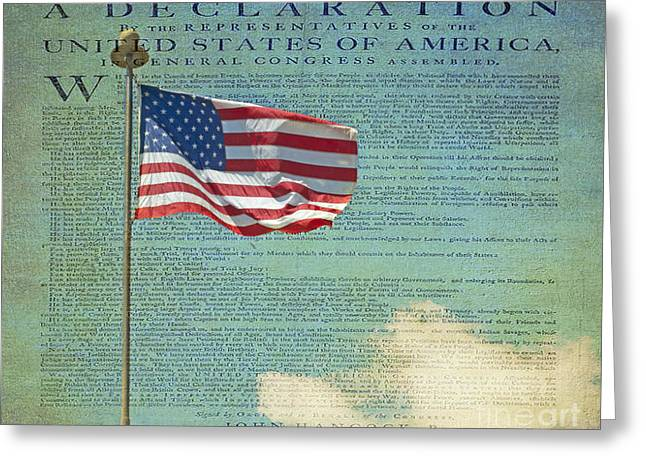 Flag - Declaration of Independence -  Luther Fine Art Greeting Card by Luther  Fine Art