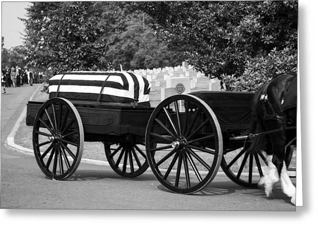 3rd Army Greeting Cards - Flag Draped Casket At Arlington Greeting Card by Greg Mimbs