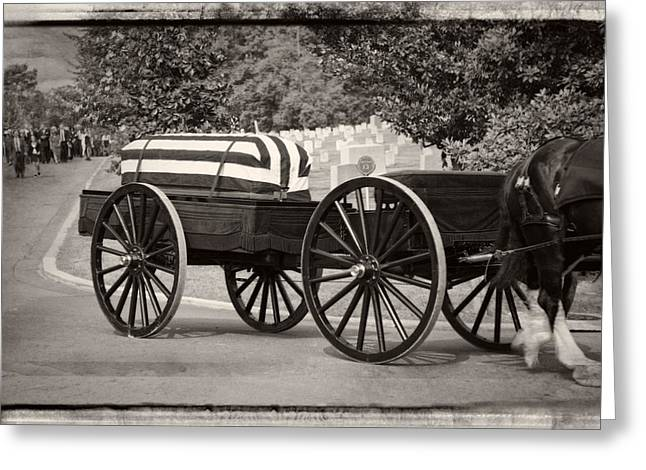 3rd Army Greeting Cards - Flag Draped Casket At Arlington with Border Greeting Card by Greg Mimbs