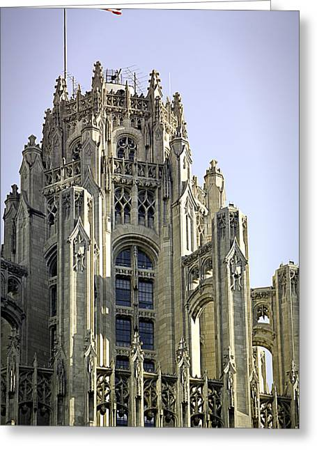 Historical Buildings Greeting Cards - Flag Flying High Tribune Tower Greeting Card by Julie Palencia