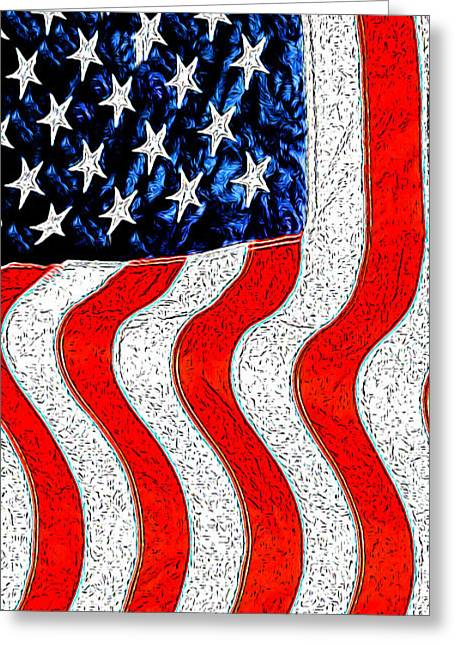 American Independance Greeting Cards - Flag Greeting Card by George Robinson