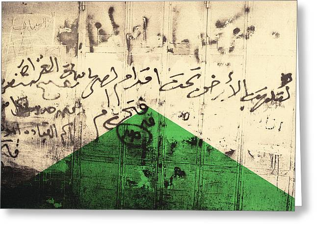 Unrest Greeting Cards - Flag I, 1992 Screenprint On Canvas Greeting Card by Laila Shawa